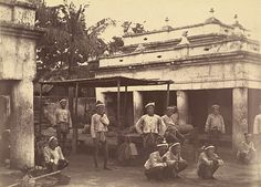 Photograph of King Thibaw's guards, East Gate, Mandalay Palace, 28 November 1885. Photographer: Hooper, Willoughby Wallace (1835–1912).
