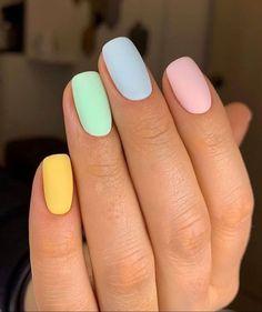 Acrylic Nails Pastel, Summer Acrylic Nails, Best Acrylic Nails, Spring Nails, Pastel Color Nails, One Color Nails, Cute Nail Colors, Yellow Nails, Purple Nails