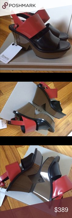 Marni Zeppa Leather Wedge Sandals Size 39 Brand new, never been worn, with tags attached. Super cool wedge platform sandals in red, black, brown with buckle. (Pristine, they were a gift). From Marni SS '16 ready-to-wear collection, made in Italy, perfect for summer. Size 39 (8.5) and ships from New York City. Marni Shoes Wedges