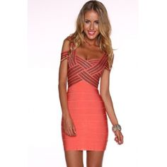 USD52.49Cheap Sexy V Neck Spaghetti Strap off the Shoulder Sleeveless Weave Illusion Red Rayon Sheath Mini Bandage Dress