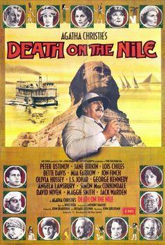 Cartel original de la película Muerte en el Nilo (1987) adaptación de una novela de Agatha Christie con Peter Ustinov en el papel del inspector belga Poirot.