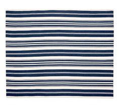 Navy Oxford Stripe Indoor/Outdoor Rug