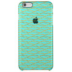 Golden waves on aqua backround uncommon clearly™ deflector iPhone 6 plus case