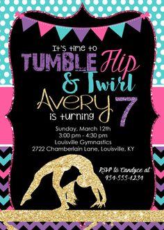Gymnastics Birthday Invitation  Tumbling Birthday Party