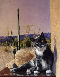 """Cat in the Desert"" Robert C. Tracy Pastels 17.75 x 22.75"" 2002"