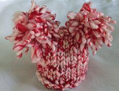 Peppermint stick merino blended Christmas hat   by AprilsYarnables