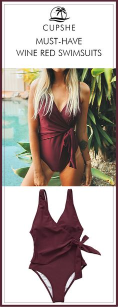 Beach-goers are searching to perfect their summer looks and sunny vibes. What about a wine-red One-piece bathing suit with a cute tie design. You'll love it at the first sight. FREE shipping! Check now.