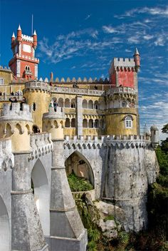 National Pena Palace in Sintra, Portugal. This place is beautiful, a must see if you're in Portugal. Well worth a day trip to Sintra. Sintra Portugal, Spain And Portugal, Portugal Travel, Oh The Places You'll Go, Places Around The World, Places To Travel, Around The Worlds, Beautiful Castles, Beautiful Places