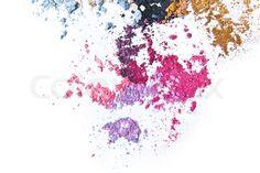 Crushed Makeup crushed eyeshadow on white background stock photo