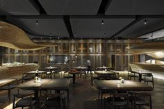 The architecture firm WEIJENBERG have worked together with Chef André Chiang to create the RAW, a modern restaurant in Taipei, Taiwan. The project to design a Raw Restaurant, Restaurant Concept, Wooden Path, Cabinet D Architecture, Architecture Company, Black Ceiling, Wallpaper Magazine, Restaurant Interior Design, Wooden Decor