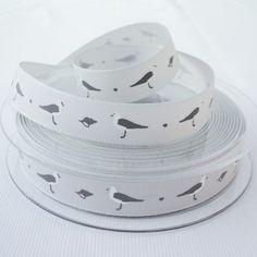 Grey Seagulls Nautical Grosgrain Ribbon
