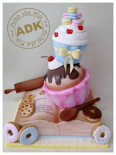 baking cake with cupcakes, macarons, doughnuts, cookies, book, and rolling pin by Arte da Ka