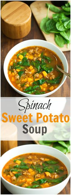 Spinach Soup spinach sweet potato - This Spinach Sweet Potato Soup is a hearty and comforting meal that is so easy and quick to make, loaded with ground turkey, sweet potato, and spinach! Paleo Recipes, Soup Recipes, Cooking Recipes, Turkey Recipes, Chicken Recipes, Hamburger Recipes, Recipies, Hacks Cocina, Spinach Soup