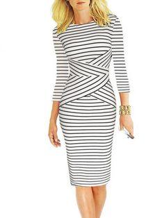 V Neck  Striped Bodycon Dress