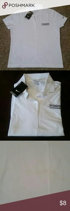 Nike Golf Dri-Fit Ladies Shirt- Wyndham Vacations NWT  see pic 3... had a roof leak and it got some of my shirts wet. You have to get really up Close to see the stain. New condition other than that Nike Tops