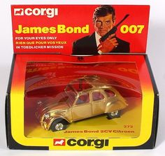 Corgi 272 James Bond Citroen 2CV Special Gold Plated Ltd production of 10 units for retailer sales volume promotion sweepstakes. Pic. credit www.qualitydircasttoys.com