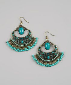 Take a look at this Turquoise Beaded Moroccan Earrings by Treska on #zulily today!