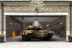 Garage Door Tank Armoured 3d Covers Decoration Banner Outdoor Outside Decor GD94 #DecalHouse