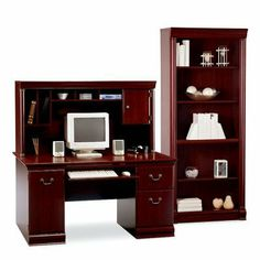 Bush Birmingham Computer Desk and Hutch with Bookcase by Bush Industries Inc. $609.99. Spacious workspace, functional storage, and sophisticated style. What more could you want in a home office? The Bush Birmingham Computer Desk and Hutch with Bookcase combines all of these features and covers them in a rich Harvest Cherry finish that's sure to enhance any setting. Constructed of melamine laminate over durable MDF wood, this home office set includes a sturdy desk and handsome...