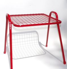 Hey, I found this really awesome Etsy listing at https://www.etsy.com/listing/451122168/wire-end-table-red-side-table-vintage