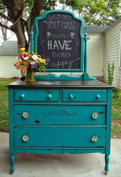 chippy teal dresser, chalkboard paint, painted furniture, repurposing upcycling, and here she is finished Just love this one