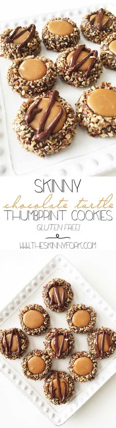 Skinny Chocolate Turtle Thumbprint Cookies - Some of my most favorite holiday cookies! #BRMHolidays #CleverGirls