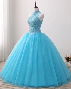 Blue Lace O Neck Strapless Long Tulle Quinceanera Dress, Formal Prom Gown from Sweetheart Dress - Gigi 15 anos - Luulla Dresses, Cute Prom Dresses, Sweet 16 Dresses, Trendy Dresses, Ball Dresses, Elegant Dresses, Beautiful Dresses, Ball Gowns, Evening Dresses