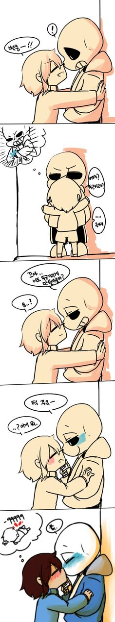 "Well is not a ""OC"" is only my frisk version U I don't have OC in undertale world. But i couldn't resist do it. More that ship, its look like Sans was scared x'D Yep they are cry...i wanted to exper..."