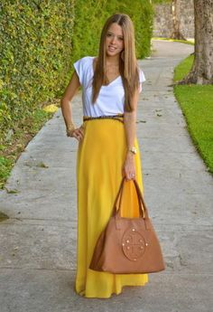 Yellow Maxi Skirt by SarahLMeyers on Etsy, $35.00