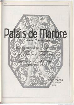 PALAIS DE MARBRE Paris décoration moderne pub 1926