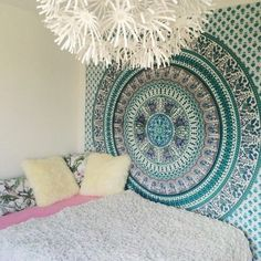 Arabella Green Elephant Tapestry Mandala Boho Bohemian Queen Bedspread - GoGetGlam - 1