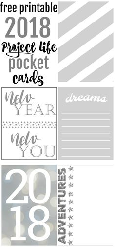Free 2018 Project Life Pocket/Journal Cards