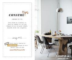 LÁMPARAS DE PIE  Otra forma de iluminar tu mesa de comedor es con una lámpara de pie de gran tamaño, dejando atrás las colgantes.  www.construluz.com - info@construluz.com.ar   #luces, #deco & #showroom
