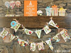 Happy Birthday Banner from The Wood Connection   ***Kimberly here! Went to the local shop on Eastern. The owners are SO nice. They were making a sample of this banner. So adorable and wooden. Going back to make one.