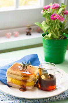 sandwich, piña, miel