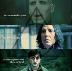 Fact #154: The Three  Brothers ~ Harry, Severus Snape and Voldy all died the same way as the Peverell brothers, Voldemort died for power, Snape for love and Harry greeted death as a friend. Voldemort and Harry are distant relatives to the Peverells but it has never been said Snape also was.  #Three   #Peverell   #Brothers   #Harry   #Potter   #Facts