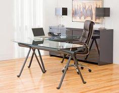 Structube - Office : Desks : Studio (Charcoal) Glass Corner Desk, Glass Desk, Creative Office Space, Studio Desk, Workspace Inspiration, Workspace Design, Home Office Decor, Home Decor, House Design