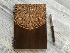 Mandala Notebook Wooden Notebook Wood Journal Engraved