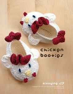 Chicken Rooster Cockerel Cock Baby Booties Crochet PATTERN,