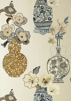 Anna French Clarissa Wallpaper AT6110 Pearl Wallpaper, Anna French, Wildflower Tattoo, Blue Pottery, Colorful Wallpaper, Beautiful Wallpaper, T Art, Paint Colors For Home, Chinese Art