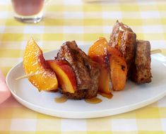 A unique low-calorie take on a traditional breakfast dish, Joy Bauer's French toast recipe uses toast hunks and grilled peaches on a kebab!