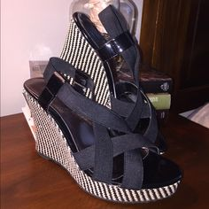 """Black & White Patterned wedges, Size: 6 Black & White Patterned wedges, Size: 6. Extremely comfortable and adds style to any outfit. 4"""" platform  Charles by Charles David Shoes Wedges"""