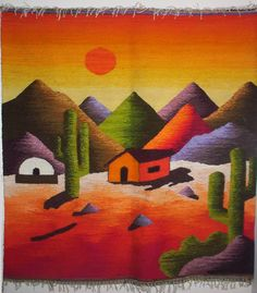 Tapices en Telares Artesanales                                                                                                                                                                                 Más Tole Painting, Fabric Painting, Watercolor Paintings, Weaving Textiles, Tapestry Weaving, Peruvian Art, Desert Art, Art Textile, Southwest Art
