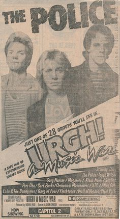 Here's an obscure one for you. The Police were the draw card, but they were only one of twenty eight bands in this film of live performances from mainly UK punk/new wave bands.