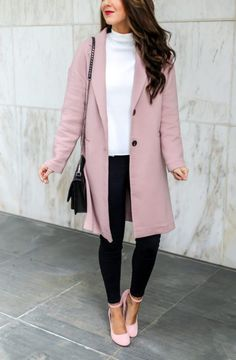 How to Style a Classic Pink Coat. Beautiful Blouse and Pink Coat. Work Outfits. Outfits for Work. Work Wear. Professional Style. Early Spring Outfits. Spring Outfits for Work. Classy Outfits. #workwear #springoutfits