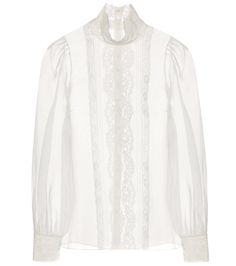 Dolce & Gabbana - Lace-trimmed silk organza blouse - Light-as-air silk organza makes this blouse from Dolce & Gabbana a dream to slip into. The high collar is crafted from tonal lace that also trims the front and the cuffs for a simply beautiful look. Wear yours over a simple camisole to emphasise the ultra-feminine style. seen @ www.mytheresa.com