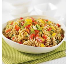 Guilt-Free Rotini Salad - uses PC Greek Yogurt-Plain. Pasta Soup, Pasta Dishes, Pasta Salad, Cooking Recipes, Healthy Recipes, Healthy Meals, Menu, Soup And Salad, Food For Thought