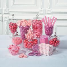 Pretty in pink! Complement pink wedding decorations with candy buffet ideas from our huge selection of wedding candy and wedding supplies. Stock your candy . Pink Candy Buffet, Candy Table, Sweet 16 Birthday, 1st Birthday Parties, Pink Birthday, Birthday Stuff, Wedding Supplies, Party Supplies, Pink Jelly Beans