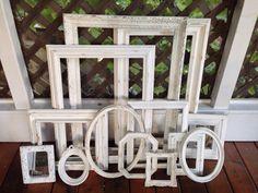 shabby chic frames open frames, gallery set of 13, white on Etsy, Verkauft