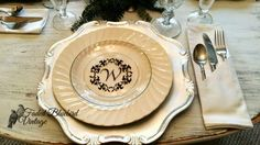 Monogram your dishes using vinyl! Bluebird Vintage, Elegant Christmas, Blue Bird, Decorative Plates, Dishes, Dining, Tableware, Kitchen Ideas, Crafts